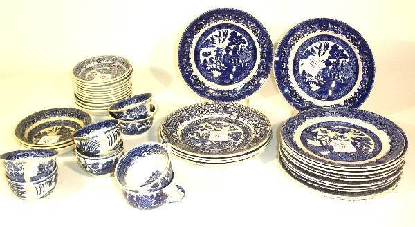 41: Assembled group of Blue Willow china