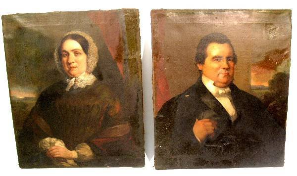 60: Two portraits of a man & a woman, c.1840