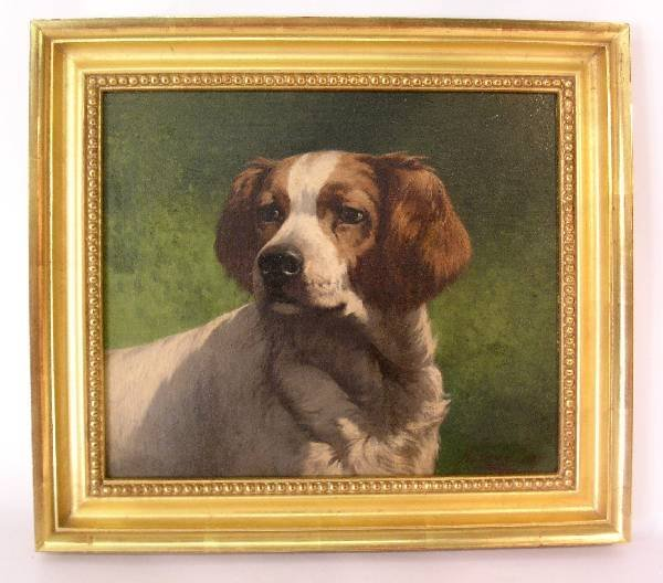 99: LR H. Simon Oil on canvas painting of a dog