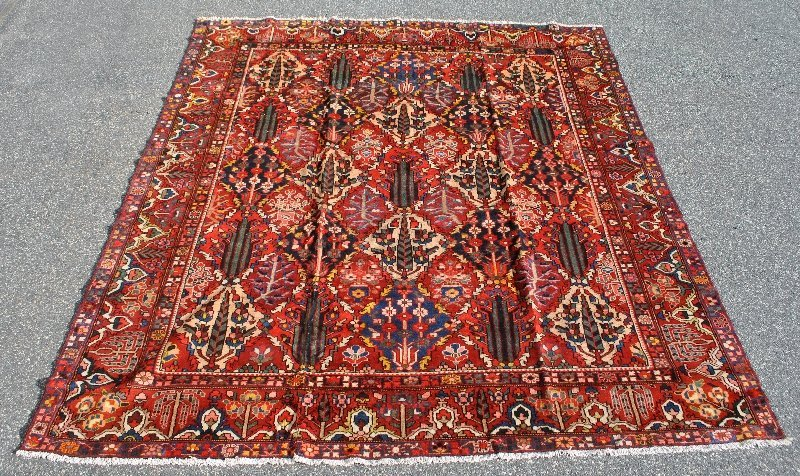 Colorful room size Bakhtiari oriental rug. 12'x14'
