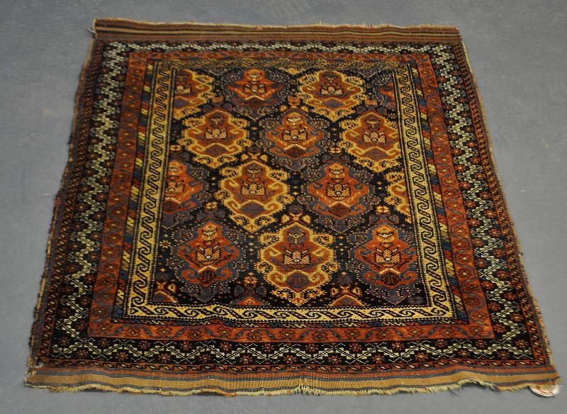 "Colorful Belouch oriental mat, late 19th c. 4'2""x3'2""."