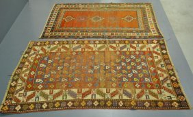 "Two Kazak Oriental Carpets. As Found. 6'7""x4'4""."
