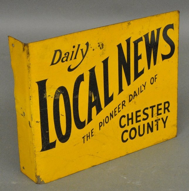 "Metal newspaper sign ""Daily Local News, Chester County"""