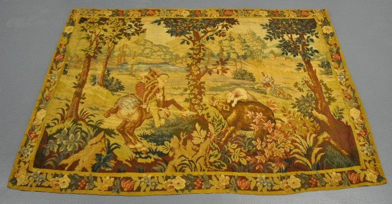 "German tapestry of a boar hunt, 19th c. 47""h.x66""w."