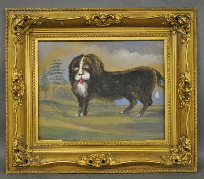 Folk art gouache on canvas painting of a dog, unsigned.