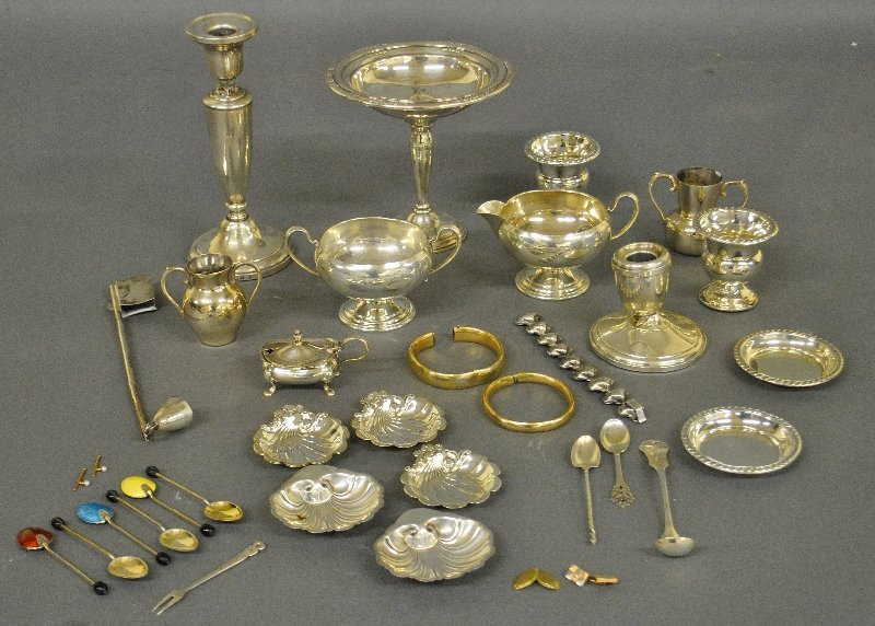 Grouping of weighted sterling silver tableware,