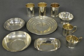 """Sterling Silver Tableware. Largest Dish Is 9""""dia. 32"""
