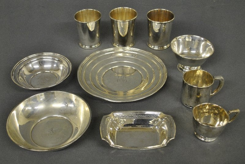 "Sterling silver tableware. Largest dish is 9""dia. 32"