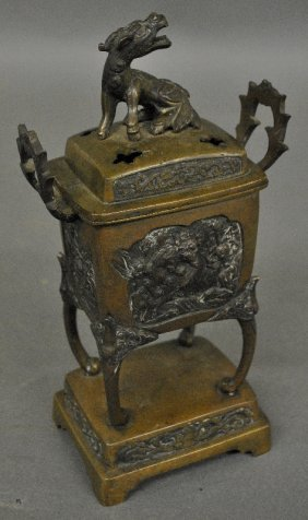 Asian Bronze Incense Burner With Relief Panels Of