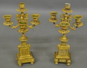 Pair Of French Fire Gilt Brass Candelabras Decorated