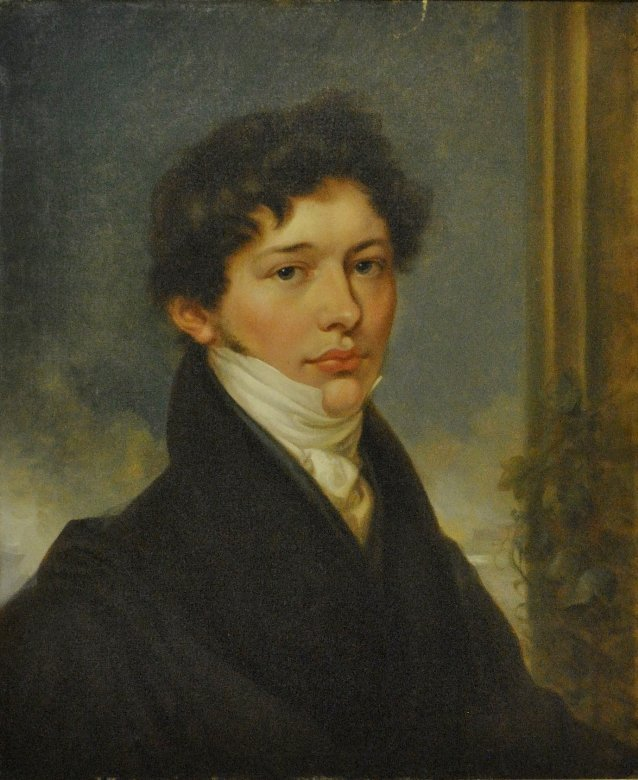 Oil on canvas portrait of a young man, c. 1830,