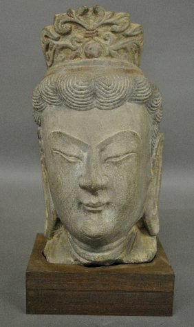 Rare Carved Stone Buddha Head, 18th/19th C., Mounted On