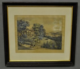 "Framed And Matted Currier & Ives Print Titled ""life In"