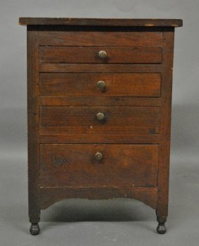 Miniature Sheraton Walnut Chest Of Drawers With Turned