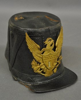 Civil War Union Style Leather Shako With A Brass Eagle