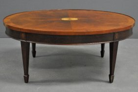 Hekman Chippendale Style Inlaid Mahogany Oval Coffee
