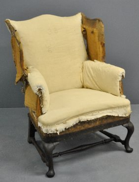 English Queen Anne Mahogany Wing Chair, C.1780.