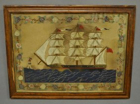 English Sailor's Woolie Of A Three-masted Frigate,