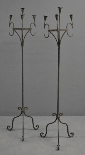 Pair Of Samuel Yellin Style Wrought Iron Floor