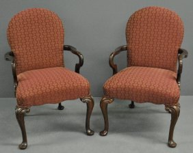 Pair Of Queen Anne Style Mahogany Open Armchairs By