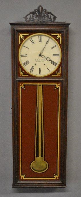"Fine Rosewood Cased Regulator Wall Clock Signed ""t.f."