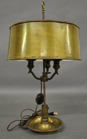 Early Brass Adjustable Bouillotte Lamp With A Brass