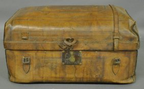 "Rare Civil War Tooled Leather Trunk Signed ""1st Mass"