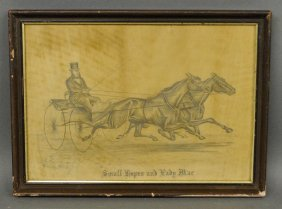 Pencil Drawing Of Two Trotting Horses Pulling A Buggy