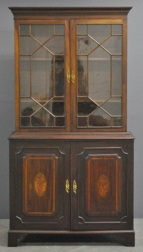 George Iii Two-piece Mahogany Cabinet With A Dental