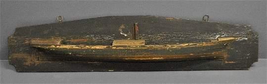 Laminated half-hull model of steamship Iris with