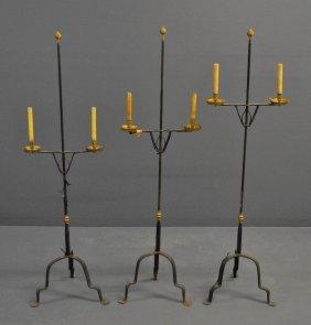 Three Matching Wrought Iron And Brass Standing Floor
