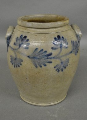 Stoneware Two-gallon Ovoid Crock With Blue Decoration,