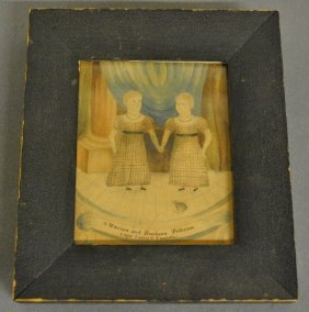 Fine New England Watercolor Painting Of Two Girls On A