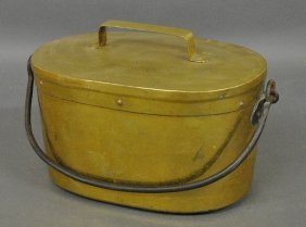 Brass Roasting Kettle, 18th C., With Wrought Iron