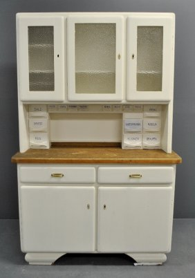 German White Painted Two-piece Pine Hoosier Cabinet,