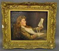 Pre-Raphaelite oil on canvas portrait of a woman