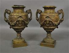 Fine pair of French bronze urns late 19th c with