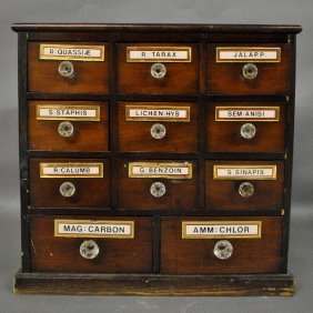 Small Mahogany And Cherry Eleven- Drawer Apothecary