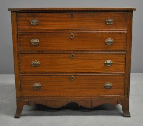 New England Federal Walnut And Birch Inlaid Chest Of
