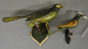 Two Continental Carved And Painted Birds. Largest