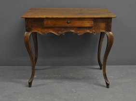 French Provincial Walnut Table, 19th C., With Cabriole
