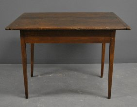 New England Country Pine Table, C.1800, With Breadboard
