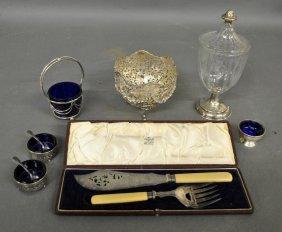 "Hallmarked Silver Bowl Lacking Glass Insert, 5""h.,"
