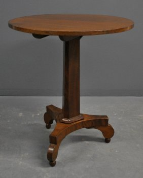 Empire Mahogany Candlestand With Scrolled Legs.