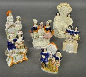 Six English Staffordshire Figural Groups, C.1870