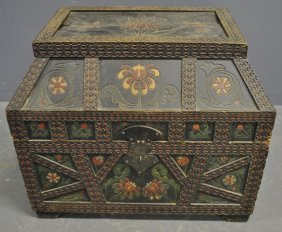 Oak Chip Carved Storage Che4st, C.1900, With Floral