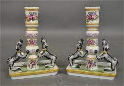 Pair of Mottahedeh porcelain candlesticks 7hx5w