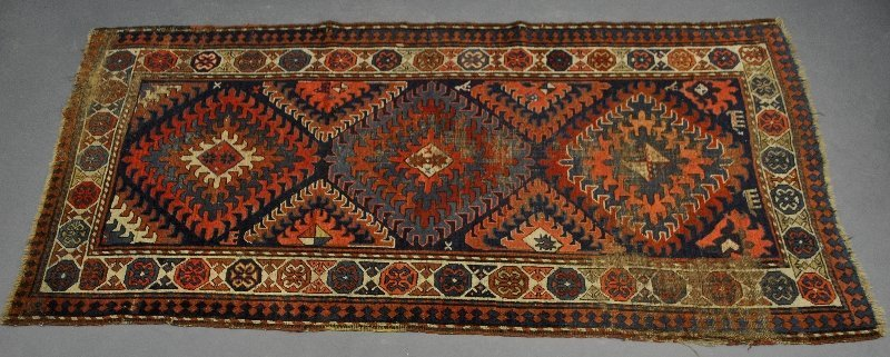 Kazak antique hall runner, as found. 8'x4'