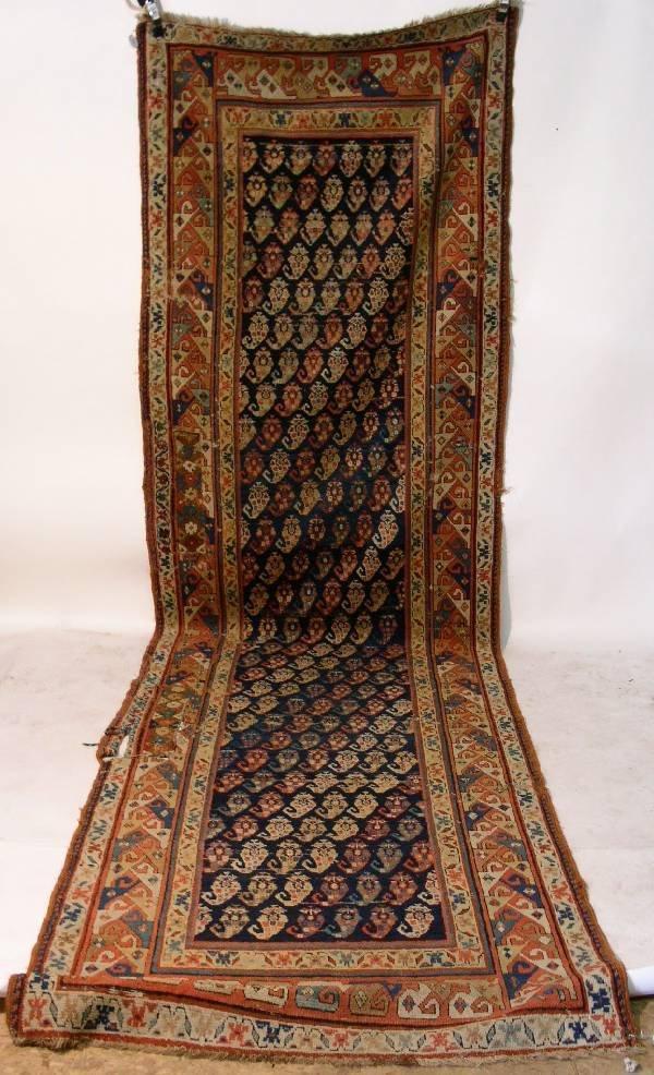 5: Antique Caucasian center hall oriental carpet, blue