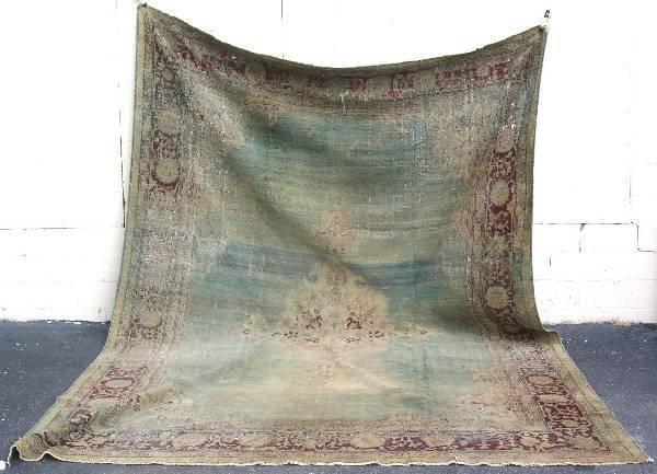 6: Antique Agra room size oriental carpet, pastel green
